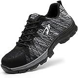 Corbell ユニセックス 安全靴 作業靴 メンズ レディーススニーカー 登山靴 防滑 通気 耐磨耗 衝撃吸収 四季通用 (26.5, Black)