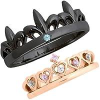 刻印無料 2個セット ティアラ 王冠 マリッジリング ペアリング 結婚指輪 メンズ&レディース シルバー (男性ブラック&女性ピンク)