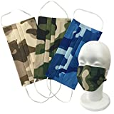 セレカジSIZE 立体 使い捨て マスク 迷彩柄 30枚セット 衛生的 3層構造 フリーサイズ (17.5×9.5cm, 迷彩柄【ブラウン・グリーン・ブルー】)