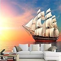 Lixiaoer カスタム3D壁壁画空ヨット海辺の風景写真壁紙リビングルームホテル背景壁紙防水3 D-120X100Cm
