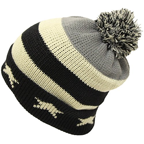 UK USA国旗柄ボン付きニット帽(ニット帽子 ワッチ) USA(アメリカ)ブラック