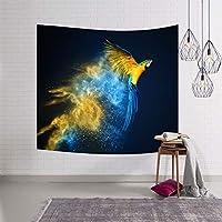 オウムタペストリー単体動物世界ホーム壁掛けナチュラルアートポリエステル生地吊りテープ XLSM (Color : A, Size : 153x130)