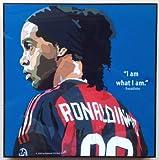 ロナウジーニョ ACミラン 海外製 サッカーグラフィックアート 木製ポスター インテリア