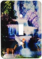 3drose LLC lsp _ 97834 _ 1 Fairy with Deer and Ducks At Waterfall Single切り替えスイッチ