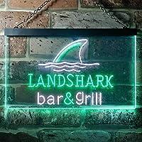 Landshark Bar and Grill LED看板 ネオンサイン バーライト 電飾 ビールバー 広告用標識 ホワイト+グリーン W30cm x H20cm