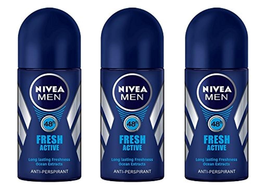 違反ハリウッド部(Pack of 3) Nivea Fresh Active Anti-perspirant Deodorant Roll On for Men 50ml - (3パック) ニベア新鮮なアクティブ制汗剤デオドラントロールオン...