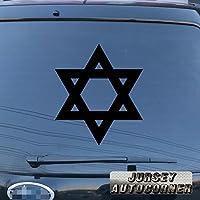 3s MOTORLINE Star of Davidデカールステッカーダビデの星イスラエルユダヤJew車ビニールPickサイズカラーDie Cut No bkgrd 6'' (15.2cm) ブラック 20180416s5
