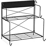 EZOWare Countertop Shelf, 2-Tier Standing Storage Organizer Spice Jars Bottle Holder for Kitchen Bathroom Cosmetic (Black)