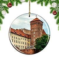 Weekinoポーランドヴァヴェル城クラクフクリスマスデコレーションオーナメントクリスマスツリーペンダントデコレーションシティトラベルお土産コレクション磁器2.85インチ