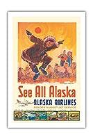アラスカを見る - アラスカ航空 - コッツェーヴェエスキモーのダンス - ビンテージな航空会社のポスター によって作成された ジェス C. c.1960s - プレミアム290gsmジークレーアートプリント - 61cm x 91cm