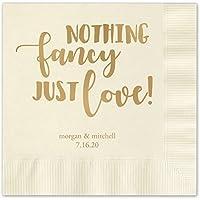 何もファンシー、Just Love Personalized飲料カクテルナプキン–100カスタム印刷紙ナプキンの選択肢の箔 AMZ6216ECSB