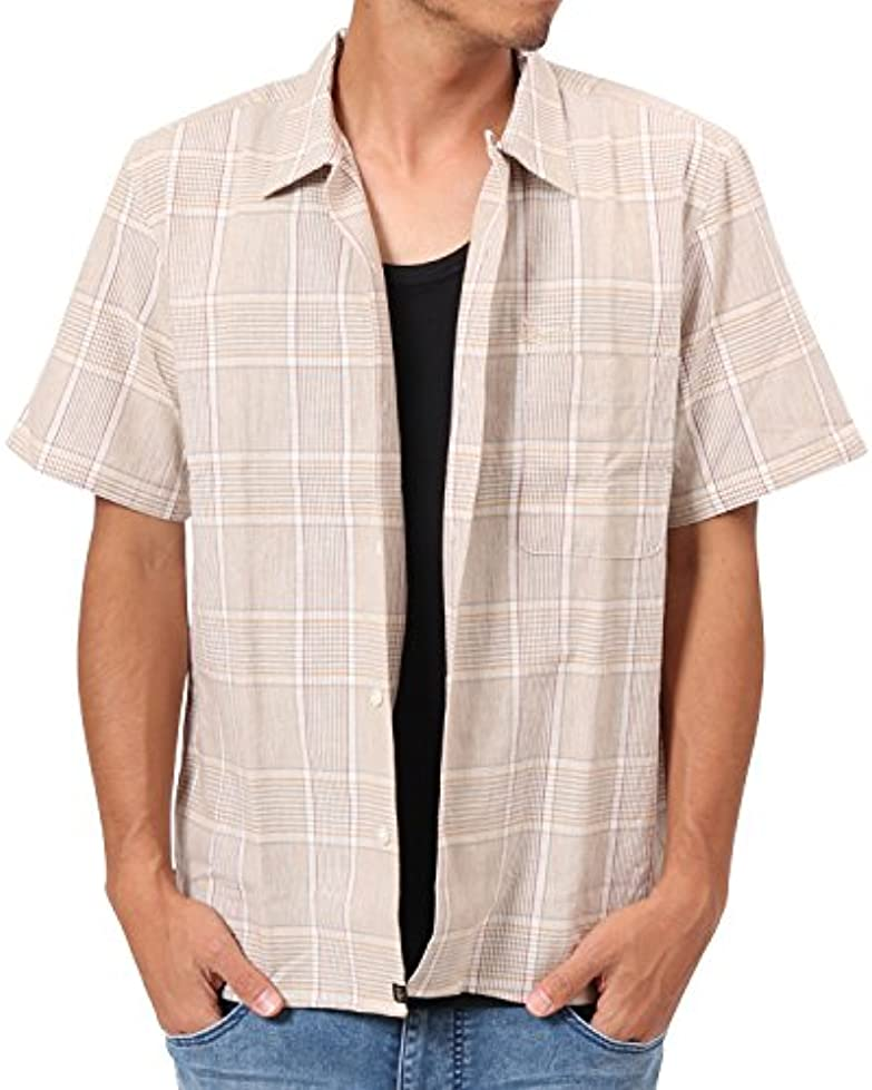 孤児物足りない素晴らしい良い多くの[カールカナイ] Karl Kani シャツ 半袖 JAPAN 綿麻 チェック オープン シャツ 182K1504