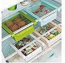 HJ 冷蔵庫 ストッカー 食品 収納 ラック プラスチック 収納ラック キッチン 収縮タイプ 引き出し 整理 (4個セット)