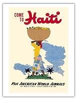 ハイチに来て - パンアメリカン航空PAN AM - ビンテージな世界旅行のポスター によって作成された E. ラフォンド c.1950s - アートポスター - 51cm x 66cm