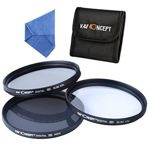 52mm フィルターキットK&F Concept® フィルターセット 52mm レンズフィルター 5点セットNikon用 カメラ用フィルター 保護フィルター 52mm 超薄型(UV+CPL+ND4)UVフィルター レンズ保護と紫外線吸収用 C-PLフィルター 偏光フィルター 薄枠 反射除去用 ND4フィルター 減光フィルター 光量調節用 Nikonデジタル一眼レフカメラ18-55MMレンズ専用+クリーニングクロス+フィルターケース