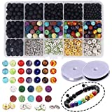 Candygirl 600 PCS Lava Stone Beads with Chakra Beads and Spacer Beads Rock Stone Essential Oil Beads Diffuser Balls Kit Set for DIY Jewelry Making