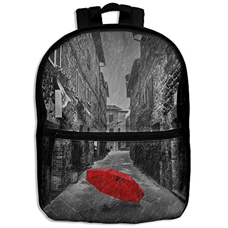 フェリー紀元前ストリップキッズバッグ キッズ リュックサック バックパック 子供用のバッグ 学生 リュックサック 雨 赤傘 アウトドア 通学 ハイキング 遠足
