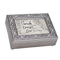 Cottage Garden Cherish Dream Live For Today Filigree Jewel Bead Silver Tone Music Box Plays Fur Elise
