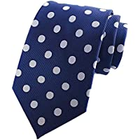 L04BABY New Classic Polka Dot White Blue Jacquard Woven 100% Silk Men's Tie