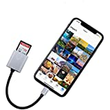SD Card Reader, MeloAudio Connector to SD/TF Card Camera Reader OTG Cable Adapter,Trail Game Camera Viewer Compatible iOS Devices, No App Required