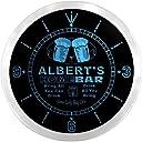 LEDネオンクロック 壁掛け時計 ncp1899-b ALBERT 039 S Home Bar Beer Pub LED Neon Sign Wall Clock