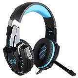 VersionTech EACH G9000 3.5mmマイク付き ゲーミングヘッドセットヘッドホンヘッドバンド (ブラック+ブルー)
