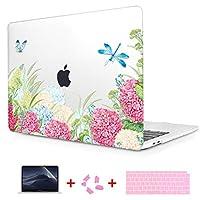 TwoL 2016 2017 2018 MacBook Pro 15 Touch Bar ケース A1707 A1990 対応 薄型 耐衝撃 保護 ハードケース シェルカバー 日本語キーボードカバー 液晶保護フィルム New Pro Retina 15 インチ,紫陽花と蝶