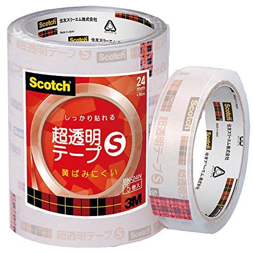 超透明テープS (巻芯径76mm) 24mm幅35m巻 5巻パック BK-24N
