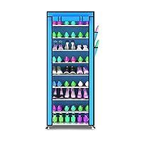 YANFEI 多層靴ラック靴キャビネット鍛造鉄ストレージ防塵靴ラックアセンブリ10層9グリッド (色 : Blue)