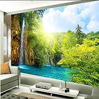 Xbwy 3D写真の壁紙山と水の風景カスタム滝壁壁画連絡用紙リビングルームのソファ風景-400X280Cm