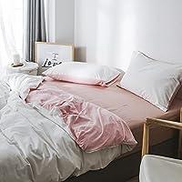 kexinfanキルトカバーWashedコットンfour-pieceセットコットン綿コットンニット綿ベッドシーツキルト、ベッド、プレーンホワイトパウダー、1.8 M (6フィート) ベッド