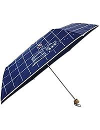 [婦人傘] チェック&キャット 55cm 耐風 ミニ傘