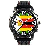 ジンバブエ国旗 - メンズブラックゼリーシリコンウォッチ