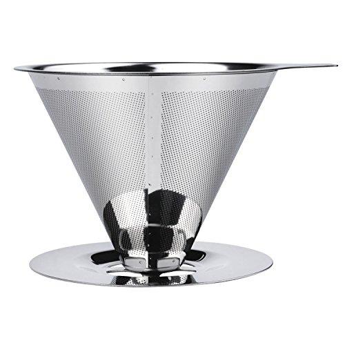 voocye コーヒードリッパー ステンレス 紙 フィルター不要 一体型 2層メッシュ 1~4杯用