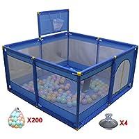 ポータブルPlayardベビーチャイルド子供バスケットボールのフープとボールで折り畳み式の遊び場を再生するプレールームルームディバイダーオックスフォードクロス8サイドパネル、ブルー (色 : 200 Balls)