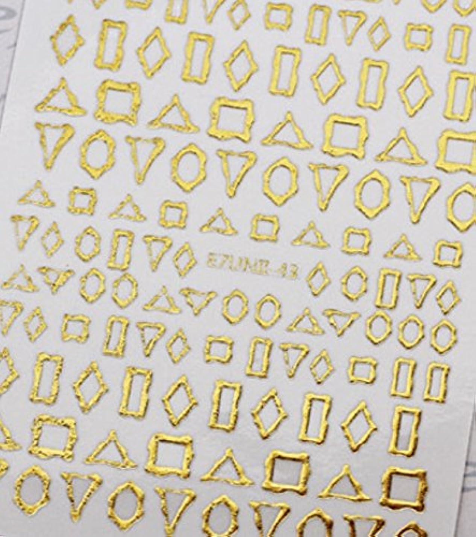 所得統計寛解極薄直接貼るタイプ ネイルシール スティッカー 枠 変形フレーム 垂らしこみアート用 多種多様なデザインに対応可能 ゴールド 金色 43番