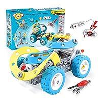 CORPER TOYS 組み立て 車おもちゃ ネジ止め 10in1 DIYカー 車 ヘリコプター 子供向け パズル ネジ ドライバー 付け ブルー