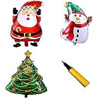 [fiveAstar]2017年 クリスマス 大型 サイズ アルミ バルーン ツリー スノーマン サンタクロース 3種類 風船 + ハンドポンプ 1個 付き christmas セット H181