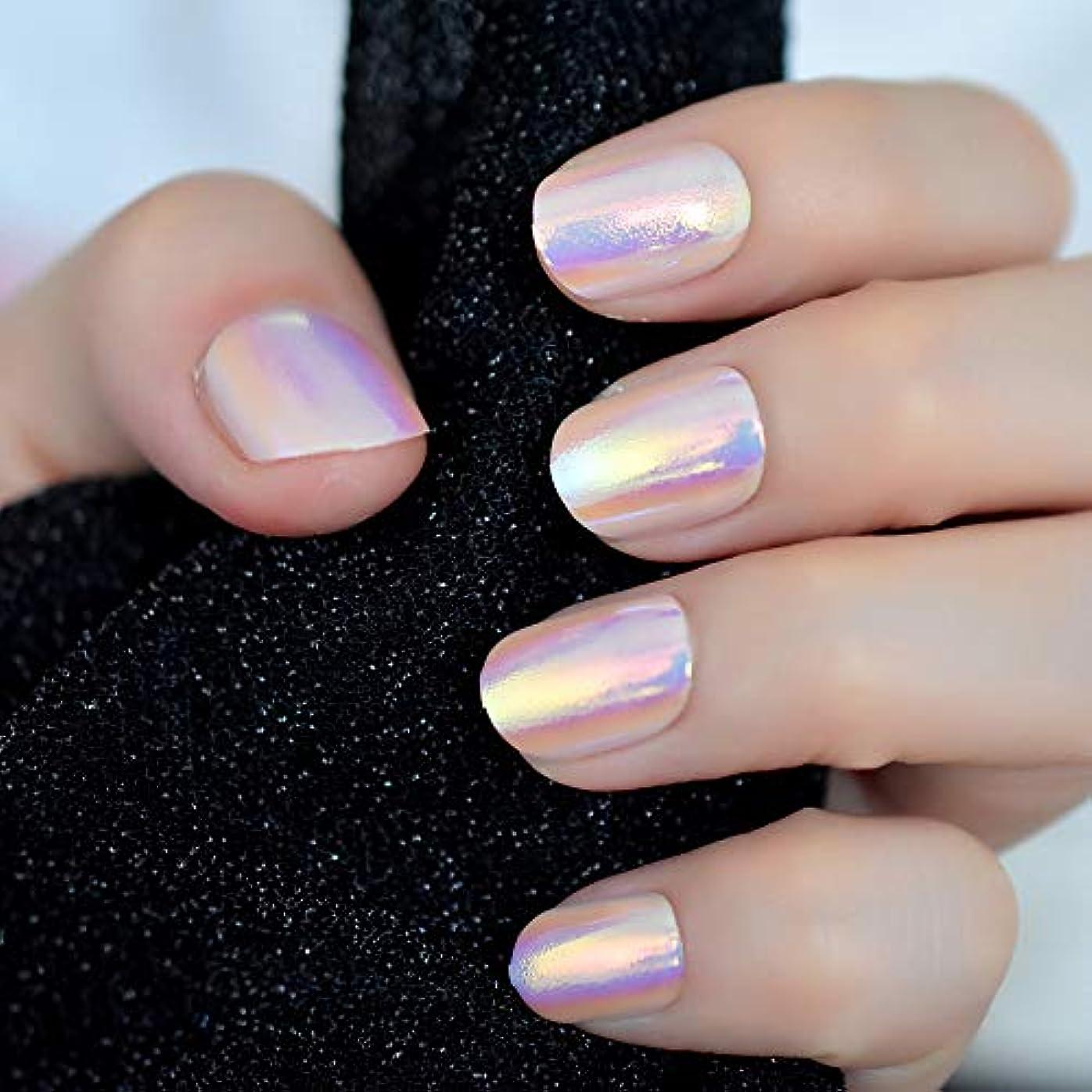 主人グリーンバック無知XUTXZKA 虹色のピンクの短いフル爪ステッカー12サイズの24本の爪