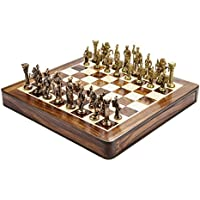 Chessncrafts Brass Roman Chess Set, Perfect For Gifting, Self-Use, Foldable Set, Board
