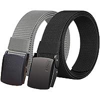Fairwin Nylon Web Belt with YKK Plastic Buckle, Breathable Outdoor Canvas Webbing Belt for Men