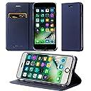 ALEVE iPhone8 Plusケース / iPhone7 Plusケース 手帳型 薄型 軽量 全面保護 耐衝撃 Qi 充電 対応 PU アイフォン 8 / 7 プラス 用 保護ケース 財布型 カード収納 マグネット スタンド機能付き 人気 スマホケース (iPhone7 Plus/iPhone8 Plus, ブルー)
