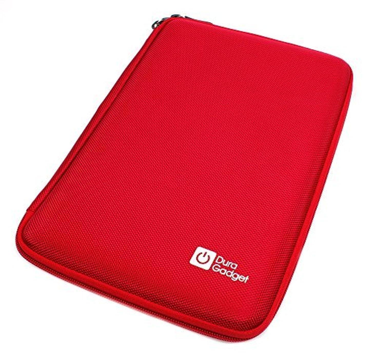 脇に腐った気楽なDURAGADGET Red Shock Resistant Protective Clam Style Zip Cover With Soft Lining & Elasticated Strap For Polaroid MIDC408, Samsung Galaxy tab 3. 8