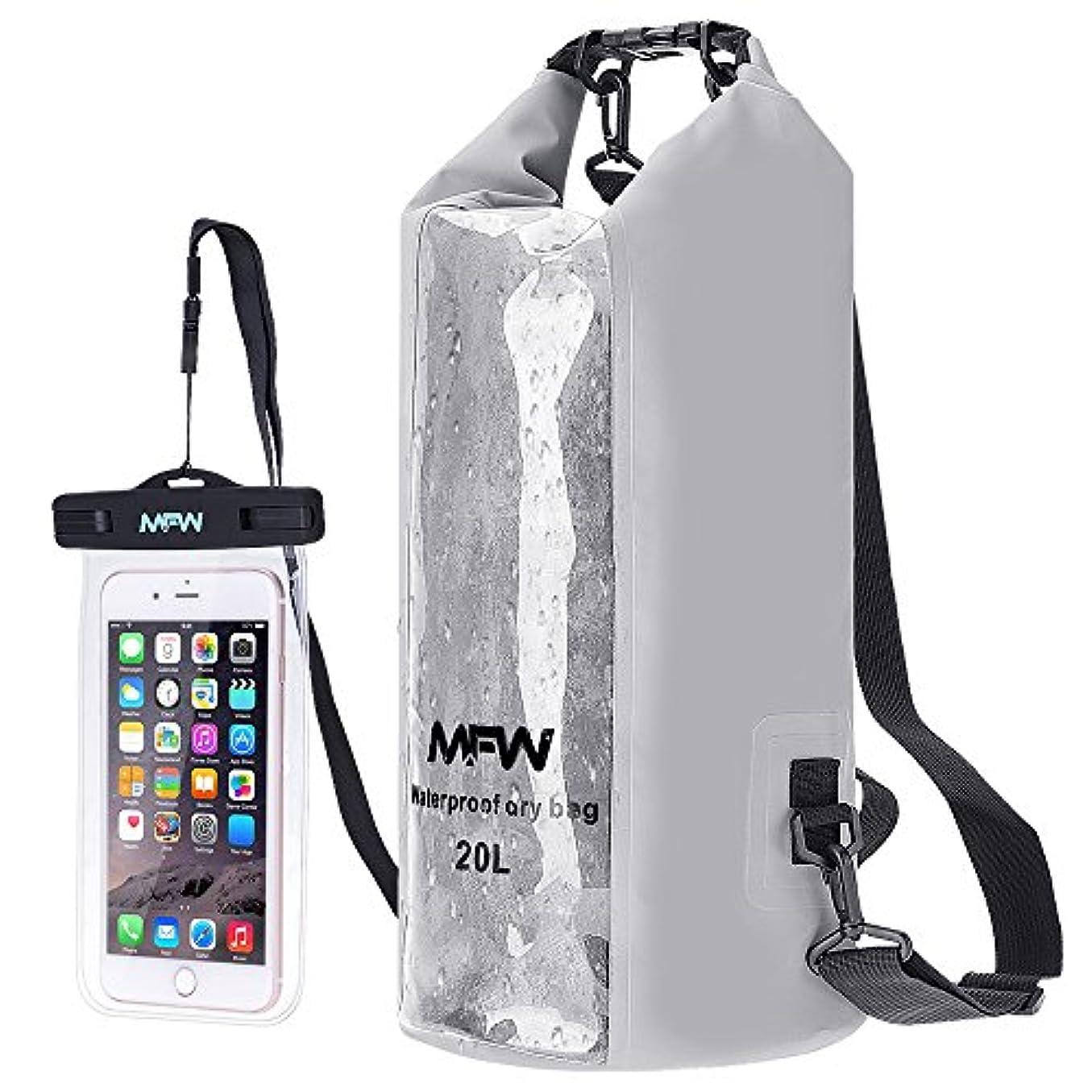 聖歌医療のめ言葉MFW ドライバッグ、20L防水ドライバッグ 防水ロールトップサックバックパックショルダー ボートやカヤック用 ラフティング 釣りなどに適用