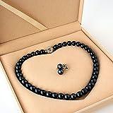 【大粒10~11mm】 黒真珠 フォーマル 2点セット ネックレス & イヤリング or ピアス ブラックフォーマル 高貴な印象 専用ケース付 ペンダント (イヤリング)