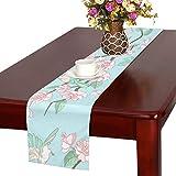 GGSXD テーブルランナー きれい りんごの花 クロス 食卓カバー 麻綿製 欧米 おしゃれ 16 Inch X 72 Inch (40cm X 182cm) キッチン ダイニング ホーム デコレーション モダン リビング 洗える