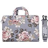 MOSISO Laptop Shoulder Bag Canvas Rose Pattern Sleeve Case Cover