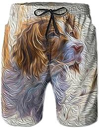 犬の絵画 メンズ サーフパンツ 水陸両用 水着 海パン ビーチパンツ 短パン ショーツ ショートパンツ 大きいサイズ ハワイ風 アロハ 大人気 おしゃれ 通気 速乾