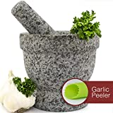 Mortar and Pestle Set - Unpolished Granite Bowl with Bonus Garlic Peeler   Great for Guacamole!   2 Cup Capacity. Protective Pad for Stability and Protected Counters