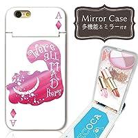 301-sanmaruichi- iPhoneXS ケース iPhone x ケース ミラーケース 鏡付き ミラー付き カード収納 おしゃれ アリス 童話 ワンダーランド ピンク トランプ ねこ ネコ 猫
